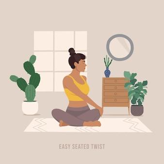 Gemakkelijk zittende twist pose jonge vrouw die yoga pose beoefent