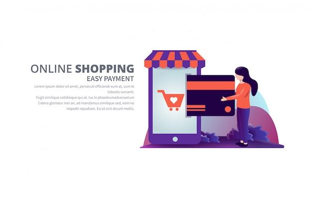 Gemakkelijke betaling online winkelen vectorillustratie met tekst sjabloon banner