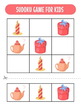 Gemakkelijke sudoku-spelwerkbladen voor kinderen met kerstafbeelding