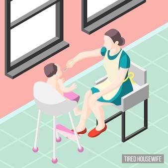 Gemartelde huisvrouw isometrisch met moeder die haar kleine kind verzorgt