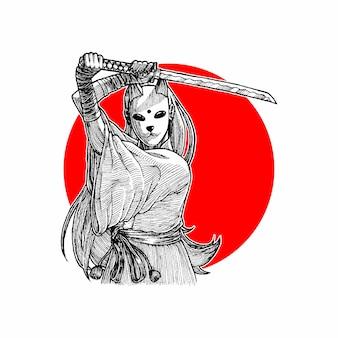 Gemaskeerd samoeraienmeisje die haar wakizashi, hand getrokken illustratievector houden