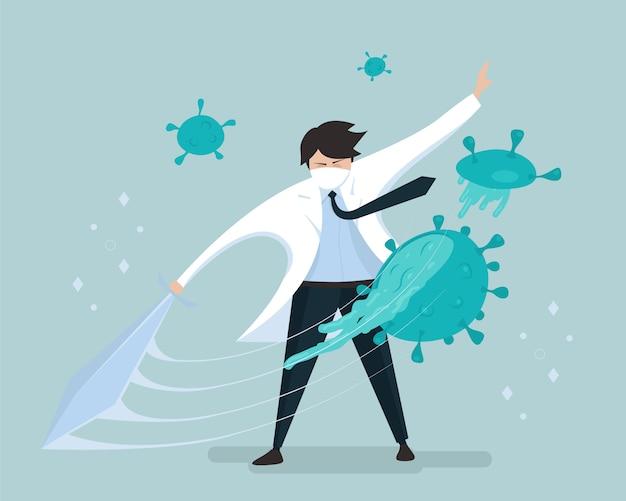 Gemaskerde arts die virus voor het leven vecht. overwinning op coronavirus. dank aan artsen. illustratie.