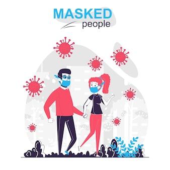Gemaskerde mensen geïsoleerd cartoon concept man en vrouw die maskers dragen lopen in het park