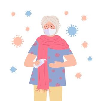 Gemaskerde oma gebruikt een ontsmettingsmiddel, stop het oude karakter van de pandemische cartoon. coronavirus in de lucht, concept tegen