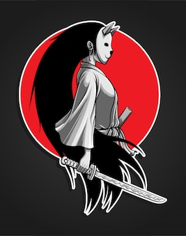 Gemaskerde samurai girl illustratie