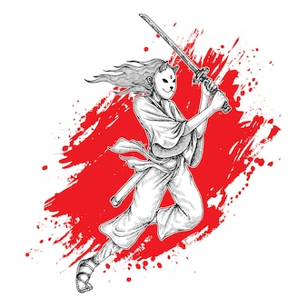 Gemaskerde samurai girl swing katana, hand getrokken illustratie