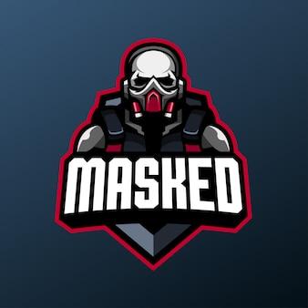 Gemaskerde schedel mascotte voor sport- en esports-logo geïsoleerd op een donkere achtergrond Premium Vector