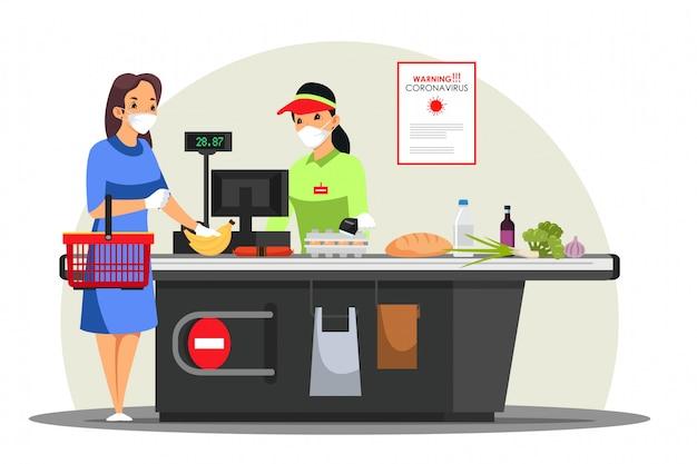 Gemaskerde vrouw koopt voedsel in de supermarkt, sociale afstand in winkel