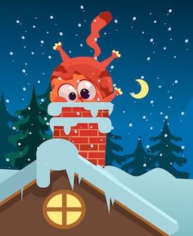 Gember dikke kat karakter mascotte probeert te krijgen in dakpijp illustratie