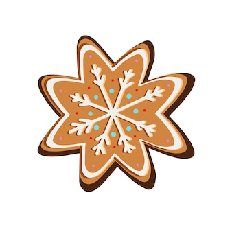 Gember kerstkoekjes in sneeuwvlokken. vector illustratie