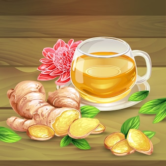 Gember thee vector samenstelling op houten achtergrond