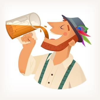 Gemberman met baard in hoed die bier drinkt met schuim dat het uit grote volle mok in de mond giet