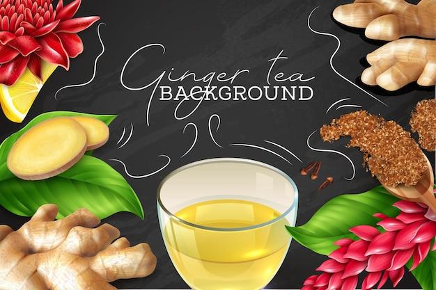 Gemberthee achtergrond met wortel, bladeren, bloemen, citroen en kruidnagel op bord