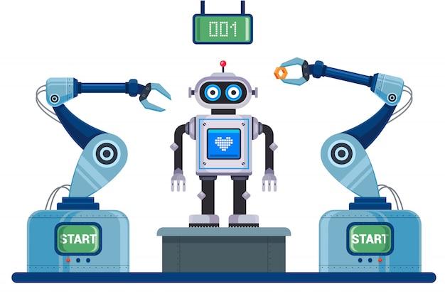 Gemechaniseerde transportband voor montage van de robot. karakter illustratie.