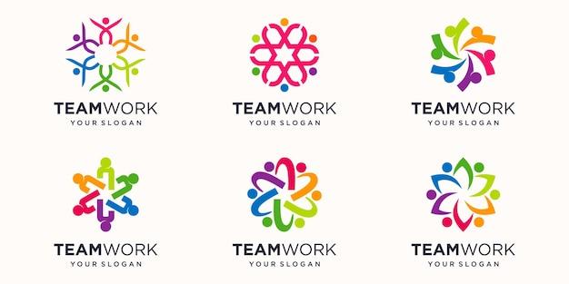 Gemeenschap abstracte logo. gelukkige mensen-logo. teamwerk symbool. sociaal logo-concept.