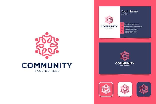 Gemeenschap met tandheelkundig logo-ontwerp en visitekaartje
