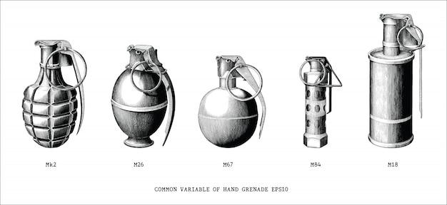 Gemeenschappelijke variabele van handgranaat hand tekenen vintage stijl zwart en wit