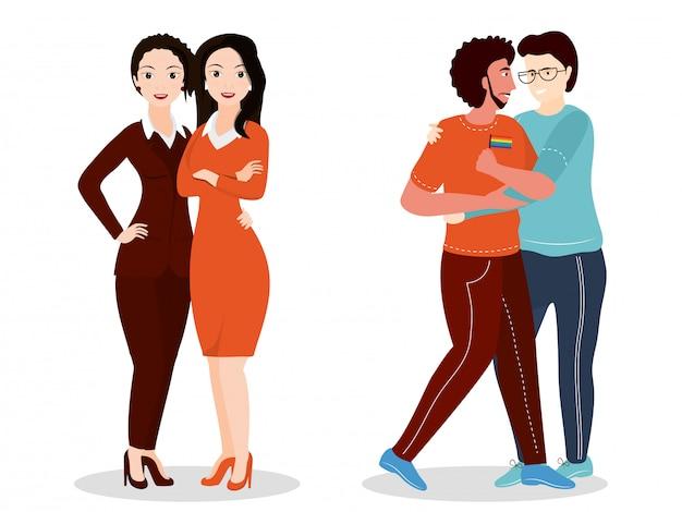 Gemeenschapsconcept lgbtq homo en lesbische paren.