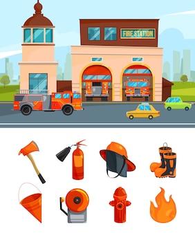 Gemeentelijke bouw van brandweerkazernes. vectorafbeeldingen isoleren op wit