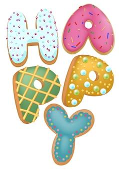 Gemengde kleurendoughnut gelukkige insignes, hoogste mening, voor aanwezige bakkerijwinkel, gelukkig verjaardagsconcept. Premium Vector