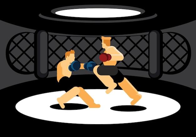 Gemengde krijgskunstvechters die in zwarte kooi vechten