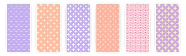 Gemengde patroon pastel patroon banner set
