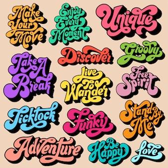 Gemengde set van motivationele typografie