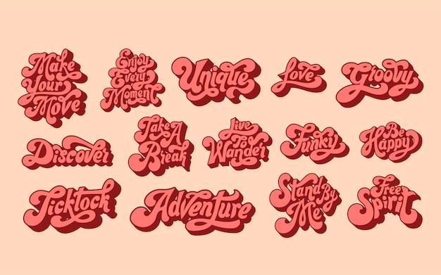 Gemengde set van motiverende woorden typografie