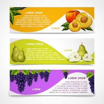 Gemengde vruchten banners collectie