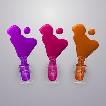 Gemorst wat nagellakken. nagellakken van felle kleuren, illustratie