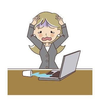Gemorst water op de laptop per ongeluk.