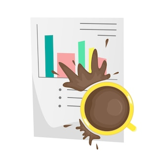 Gemorste koffie op een belangrijk papieren document. onaangenaam incident. cartoon illustratie.