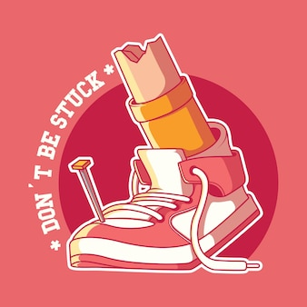 Genagelde sneaker illustratie motivatie inspiratie sport ontwerpconcept