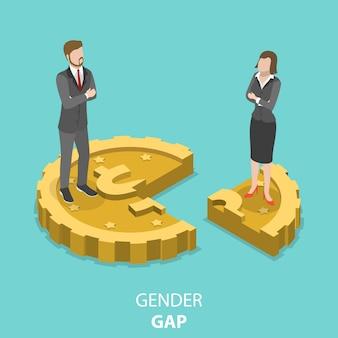 Gender gap platte isometrische vector concept.