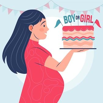 Gender-onthullingsconcept geïllustreerd in plat ontwerp Gratis Vector