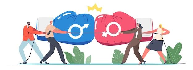 Gender team rivaliteit, office superhelden fight concept. mannelijke en vrouwelijke ondernemers personages touwtrekken competitie, strijd met bokshandschoenen en kroon. cartoon mensen vectorillustratie