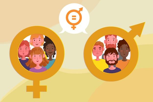 Gendergelijkheid concept illustratie