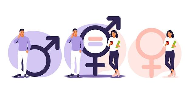 Gendergelijkheid concept. mannen en vrouwen karakter op de schalen voor gendergelijkheid. illustratie. vlak.