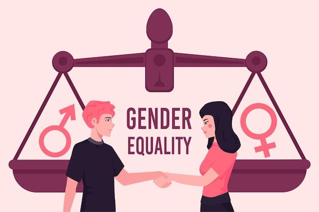 Gendergelijkheid concept met man en vrouw