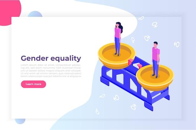 Gendergelijkheid isometrisch concept met man en vrouw