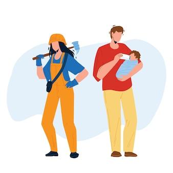 Gendergelijkheid relatie man en vrouw vector. jong meisje met apparatuur hard werken en jongen vader voeding pasgeboren baby, gendergelijkheid. karakters platte cartoon illustratie