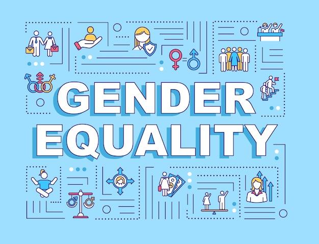 Gendergelijkheid woord concepten banner. sociale ongelijkheid. seksuele discriminatie. mensenrechten. infographics met lineaire pictogrammen op blauwe achtergrond. geïsoleerde typografie. vector overzicht rgb-kleurenillustratie