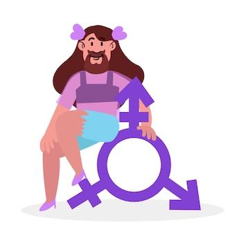 Genderidentiteit concept geïllustreerd