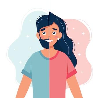 Genderidentiteit concept. persoon met half vrouw en half man gezicht.