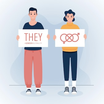 Genderneutraal identiteitsbeweging concept