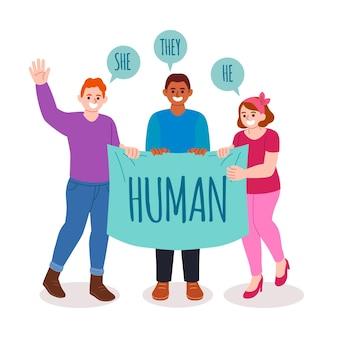 Genderneutrale beweging concept illustratie