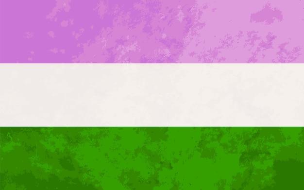 Genderqueer-teken, genderqueer-trotsvlag met textuur