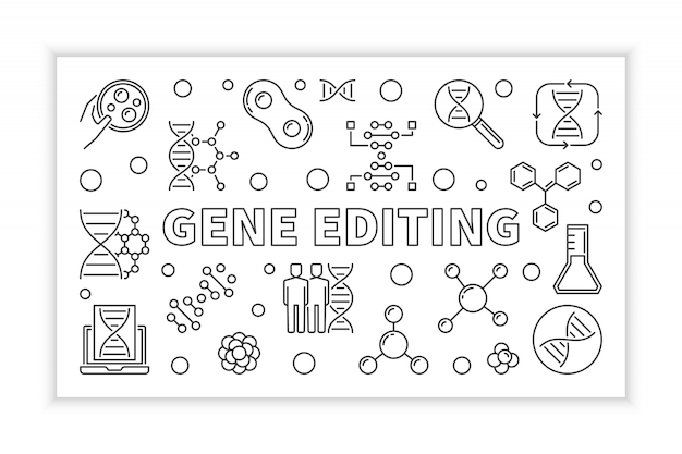 Gene editing overzicht concept pictogram illustratie