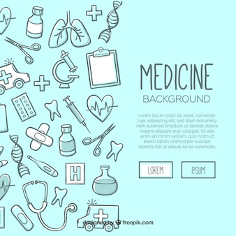 Geneeskunde achtergrond in de hand getrokken stijl