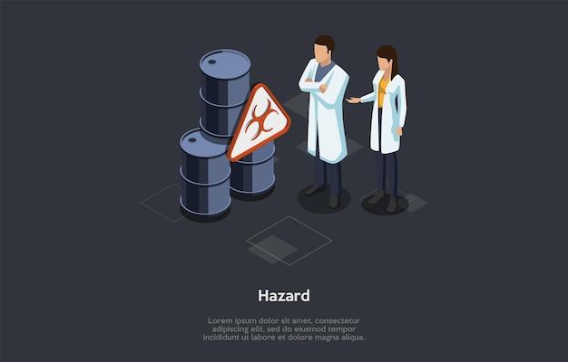 Geneeskunde, apotheek en gezondheidszorgconcept. gevaarwaarschuwingssymbool. identificatie en beoordeling van biologisch gevaar. diagnose en preventie van biohazard